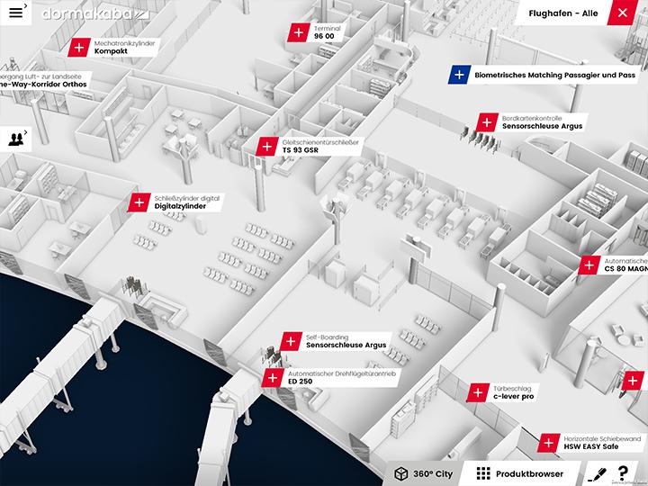 Virtuelles Gebäude mit Anwendungsszenarien